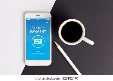 SECURE PAYMENT CONCEPT ON SCREEN