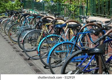 Secured bikes at Oregon university