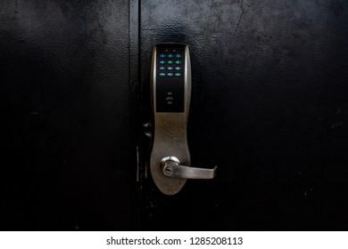 Secured black doors
