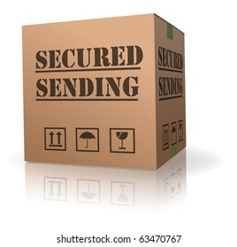 secured package delivery cardboard box shipment secure parcel sending