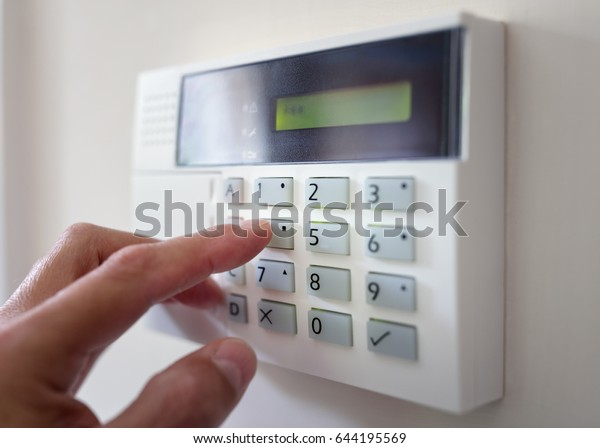 Security Alarm Now >> Security Alarm Keypad Person Arming System Stock Photo Edit Now