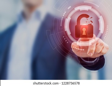 Security breach, system hacked, internet cyber attack alert with red broken padlock icon showing unsecured data, vulnerable access, compromised password, virus infection, businessman touching icon