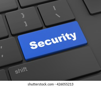 security button on the keyboard, 3d rendering