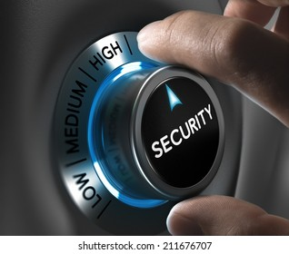 Security button pointing the highest position with two fingers, Conceptual image for risk management