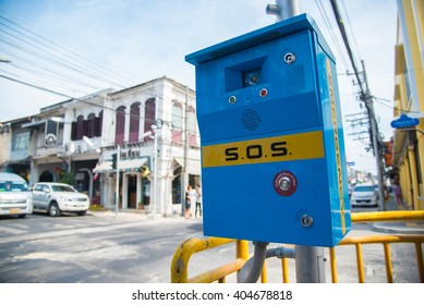 security call box installed in the city.