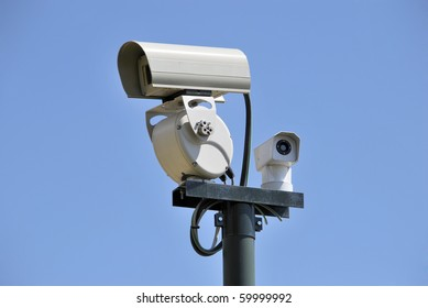 Security cam over the sky. security Concept