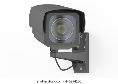 Security camera, 3D rendering isolated on white background
