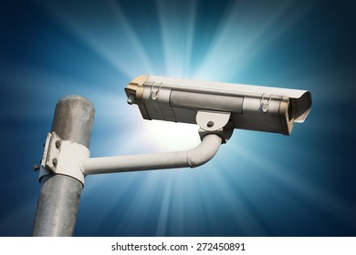 Security Camera or CCTV on blue background