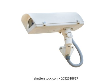 Security Camera, CCTV on location isolated on white background with clipping path