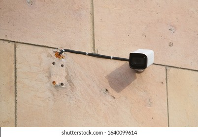 Security Camera, CCTV on location. Security camera on the wall in old city. - Shutterstock ID 1640099614