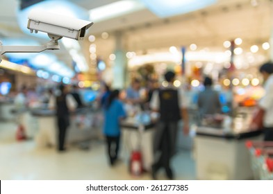 Security camera monitoring the cashier store blur with bokeh background