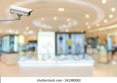 Security camera monitoring the cosmetics store blur with bokeh background
