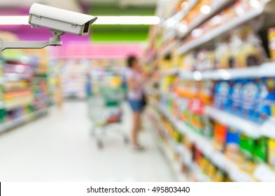 Security camera monitoring on the Abstract blurred photo of store in department store bokeh background, business shopping base on security concept