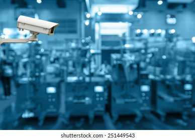Security camera monitoring the store blur background with bokeh