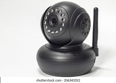 Security camera on white background. IP Camera.