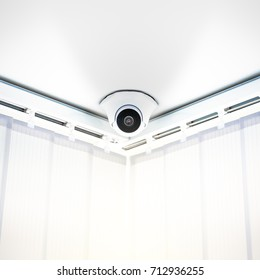 Security Camera on White Wall in Modern Office,  CCTV on ceiling