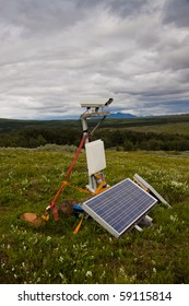 Security camera with solar in nature - Iceland