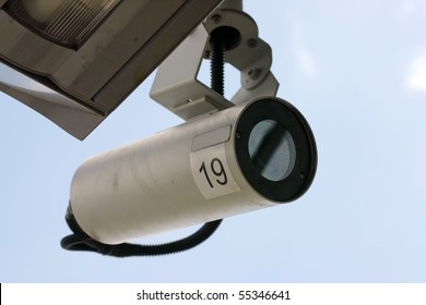 Security camera under the roof.