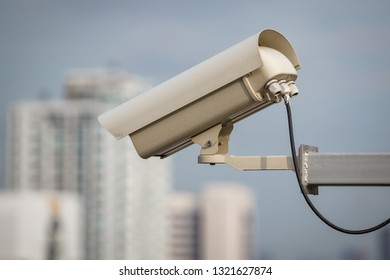 security camera and urban video (cctv) on building