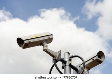 Security cameras against cloud sky
