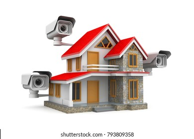 Security cameras on the house.3d render