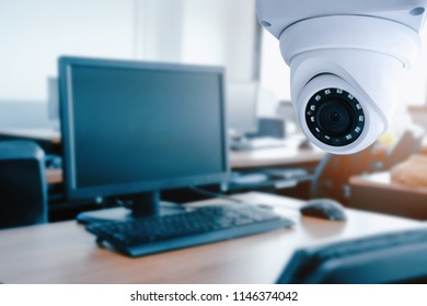 Security CCTV camera  in computer lap room of office.Anti-theft system and help create peace of mind.Digital eyes. Photography and video recording.Surveillance.Infrared