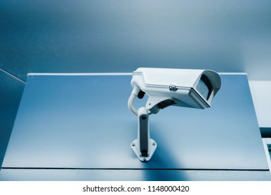 Security CCTV camera at front of  office.Anti-theft system and help create peace of mind.Digital eyes. .Surveillance.Infrared.Observer and caretaker.Protection.Modern technology.