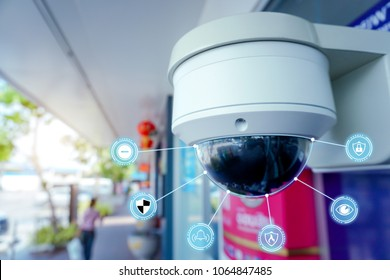 Security CCTV camera and icons at front of ATM.Security systems and protection from theft.Intelligent camera can record video at any time by automation.Digital Eyes.Surveillance.