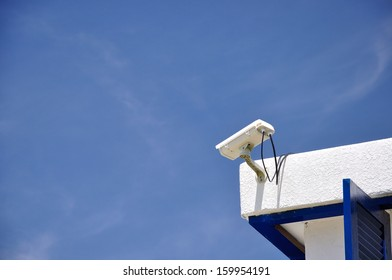 Security CCTV camera on the roof of resort.