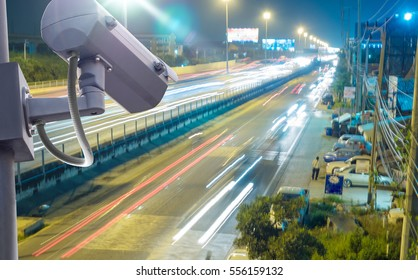 Security CCTV camera or surveillance system installed on metal pole watching for protection