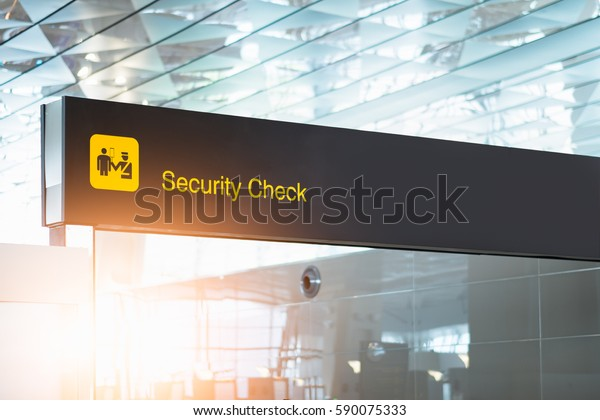 security check airport sign