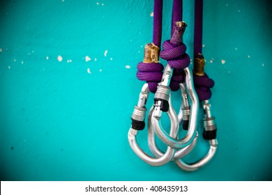 Security climb, carabiners, there are three.