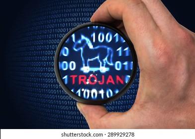 Security concept, antivirus found trojan malware thread when scanning binary code.