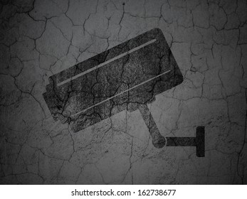 Security concept: Black Cctv Camera on grunge textured concrete wall background, 3d render
