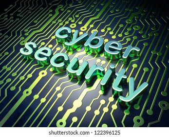 Security concept: circuit board with word cyber security, 3d render