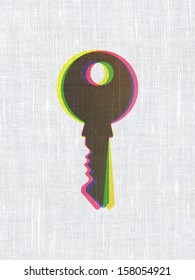Security concept: CMYK Key on linen fabric texture background, 3d render