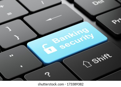 Security concept: computer keyboard with Opened Padlock icon and word Banking Security, selected focus on enter button, 3d render