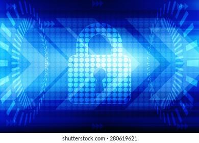 Security concept: Lock on digital screen, contrast, 3d render