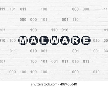 Security concept: Painted black text Malware on White Brick wall background with Binary Code