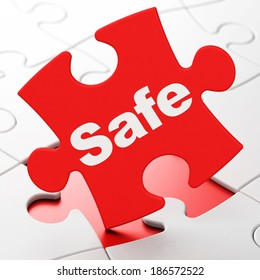 Security concept: Safe on Red puzzle pieces background, 3d render