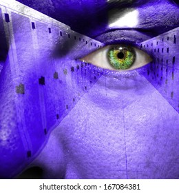 Security concept showing data center on a man's face