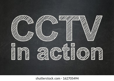 Security concept: text CCTV In action on Black chalkboard background, 3d render