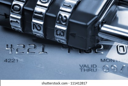 Security concept in transaction (toned in blue). Card expired a few years ago.