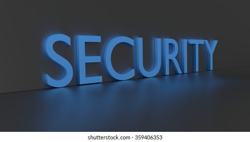 Security concept word - blue text on grey background.