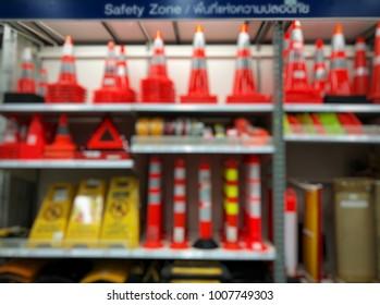 Security equipment shelf on the Department store, Blur focus