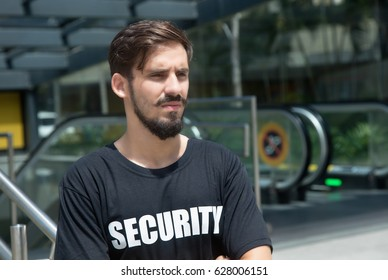 Security guard looking around outdoor