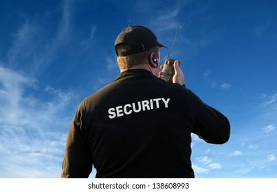 Security Guard on Walkie Talkie
