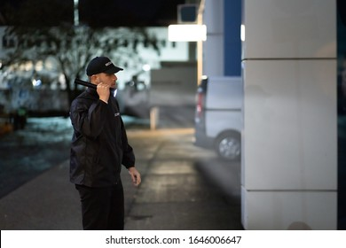 Security Guard Walking Building Perimeter With Flashlight At Night - Shutterstock ID 1646006647