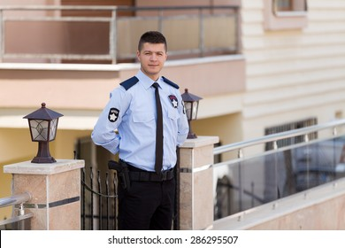 Security guard working outdoor.