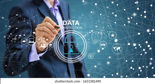 Security and Insurance Data Industry 4 Concept. Worker touched shield lock icon on virtual screen. Industrial safety, smart manufacture protection information technology integration.